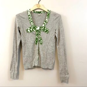 Anthropologie Moth Intarsia Bow Cardi Cardigan